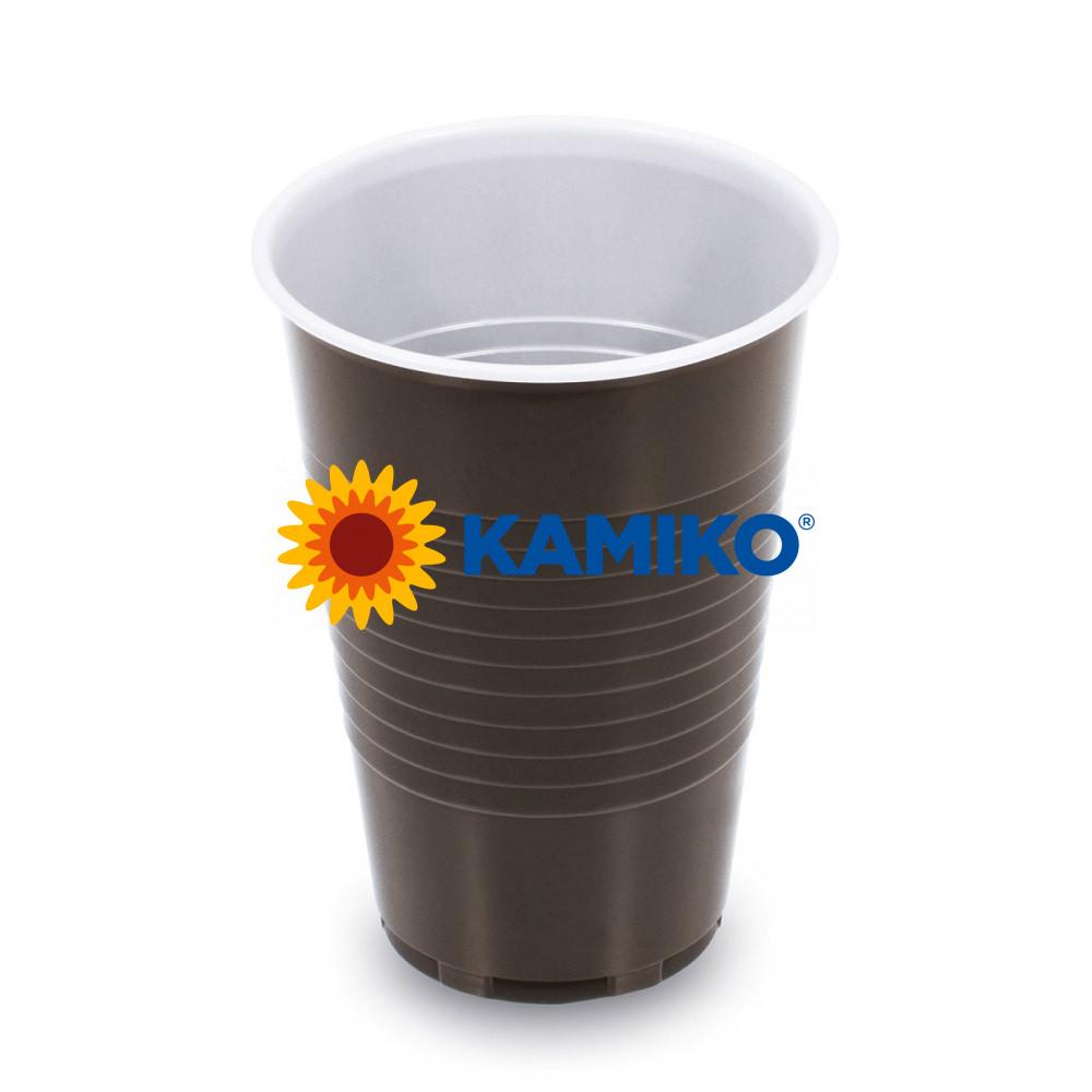 Kávový pohár hnedo-biely 0,2 l PP Ø 70 mm, 100 ks