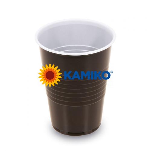 Kávový pohár hnedo-biely 0,18 l PP Ø 70 mm, 100 ks