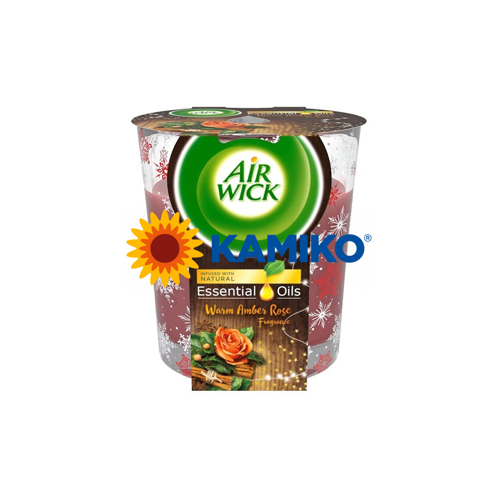 Sviečka Air Wick Essential Oils Warm Amber Rose, 105 g