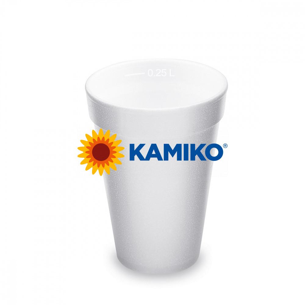 Termo-pohár biely z penového PS 0,25 l Ø 80 mm, 20 ks