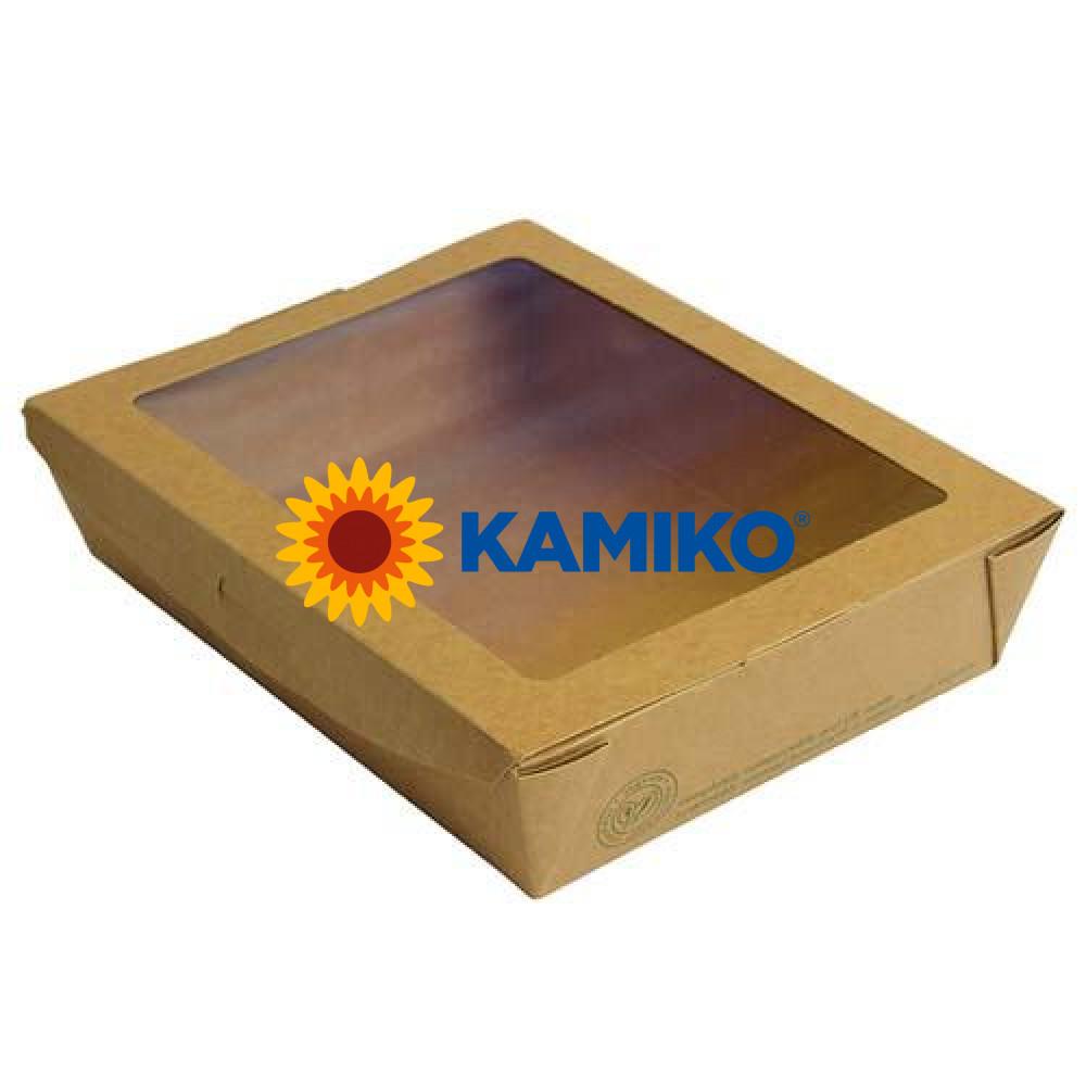 Bio Kraftový Šalát box s PLA okienkom 1 100 ml, 50 ks