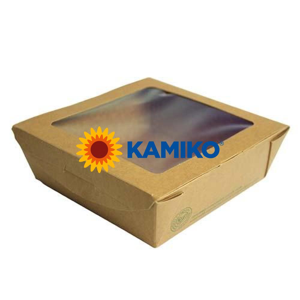 Bio Kraftový Šalát box s PLA okienkom 650 ml, 50 ks