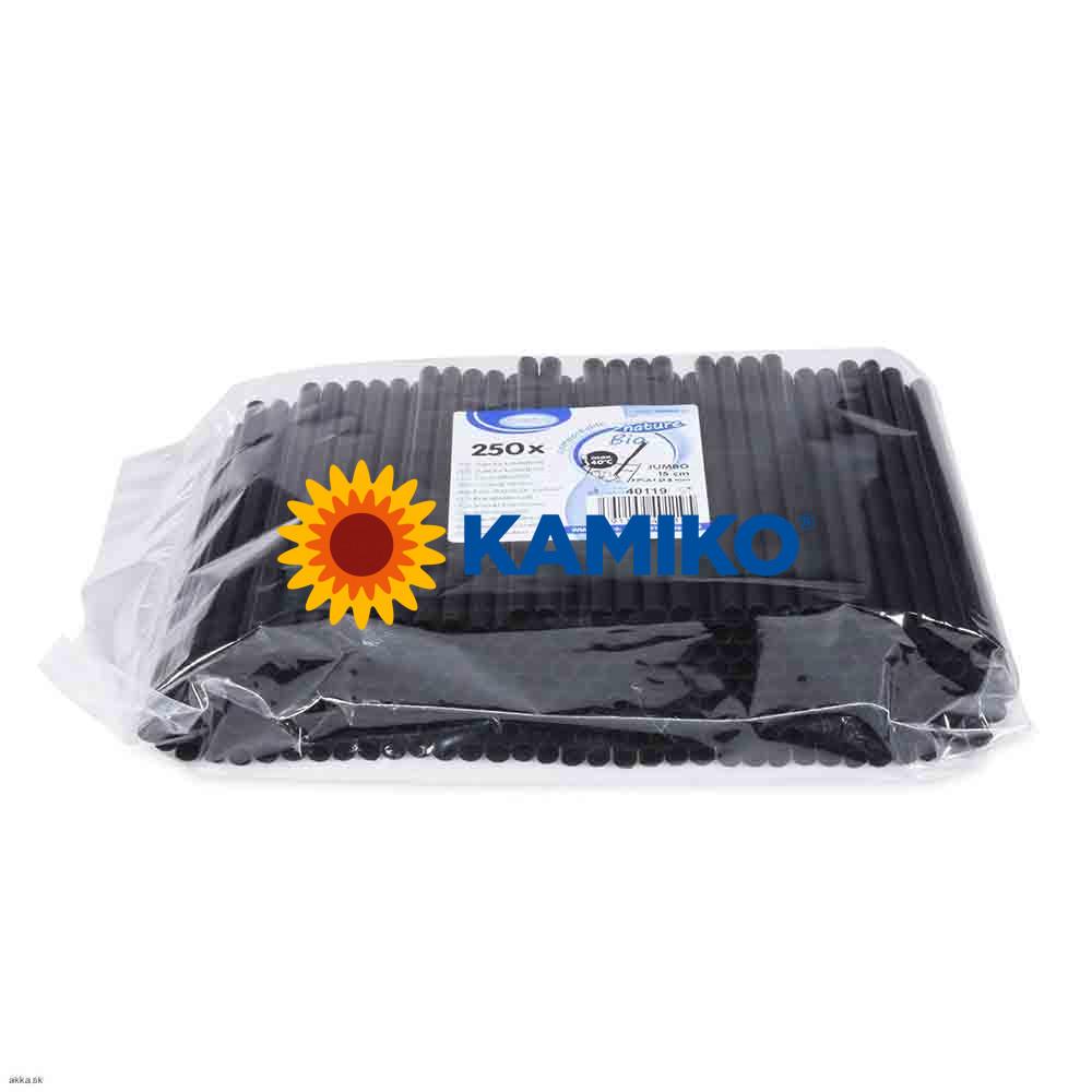 Slamky JUMBO 15 cm, pr. 8 mm, čierne, BIO plast