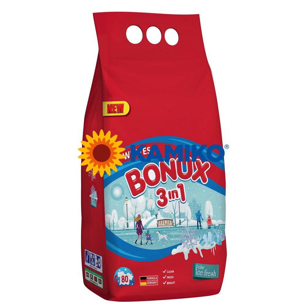 Prášok na pranie BONUX 3v1 Polar Ice Fresh, 6 kg/80 PD na bielu bielizeň