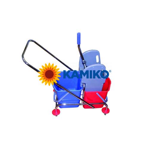 Vozík upratovací s kovovým podvozkom 2 x 17 l