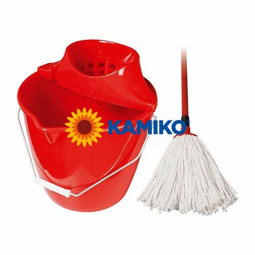 Mop komplet s 12 l vedrom a strapcovým mopom, červený