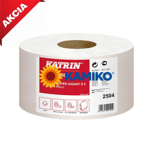 Toaletný papier 2vr Jumbo KATRIN 19 cm, biely