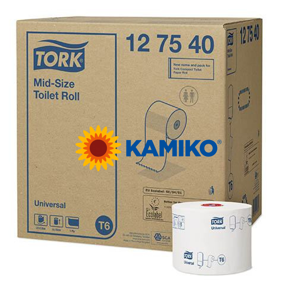 Toaletný papier 1vr TORK T6 Mid-size universal 135m, biela celulóza