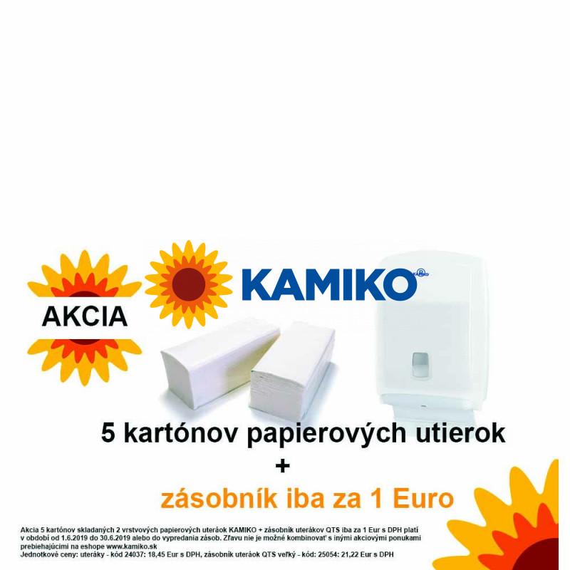 Uteráky skladané 2vr KAMIKO V celulóza biela 5 kartónov + Zásobník uterákov KAMIKO V maxi QTS transparentný za 1 Eur