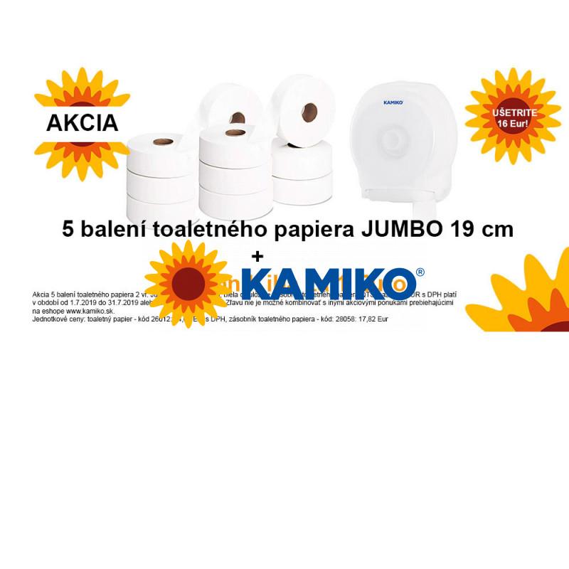 Toaletný papier 2vr Jumbo KAMIKO 19 cm, biela celulóza 5 balení + Zásobník toaletného papiera KAMIKO Jumbo 19 cm, QTS transparentný za 1 Eur