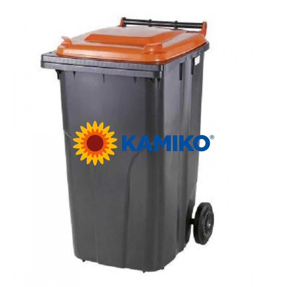 Plastová nádoba na odpad 120 l, čierna/oranžová