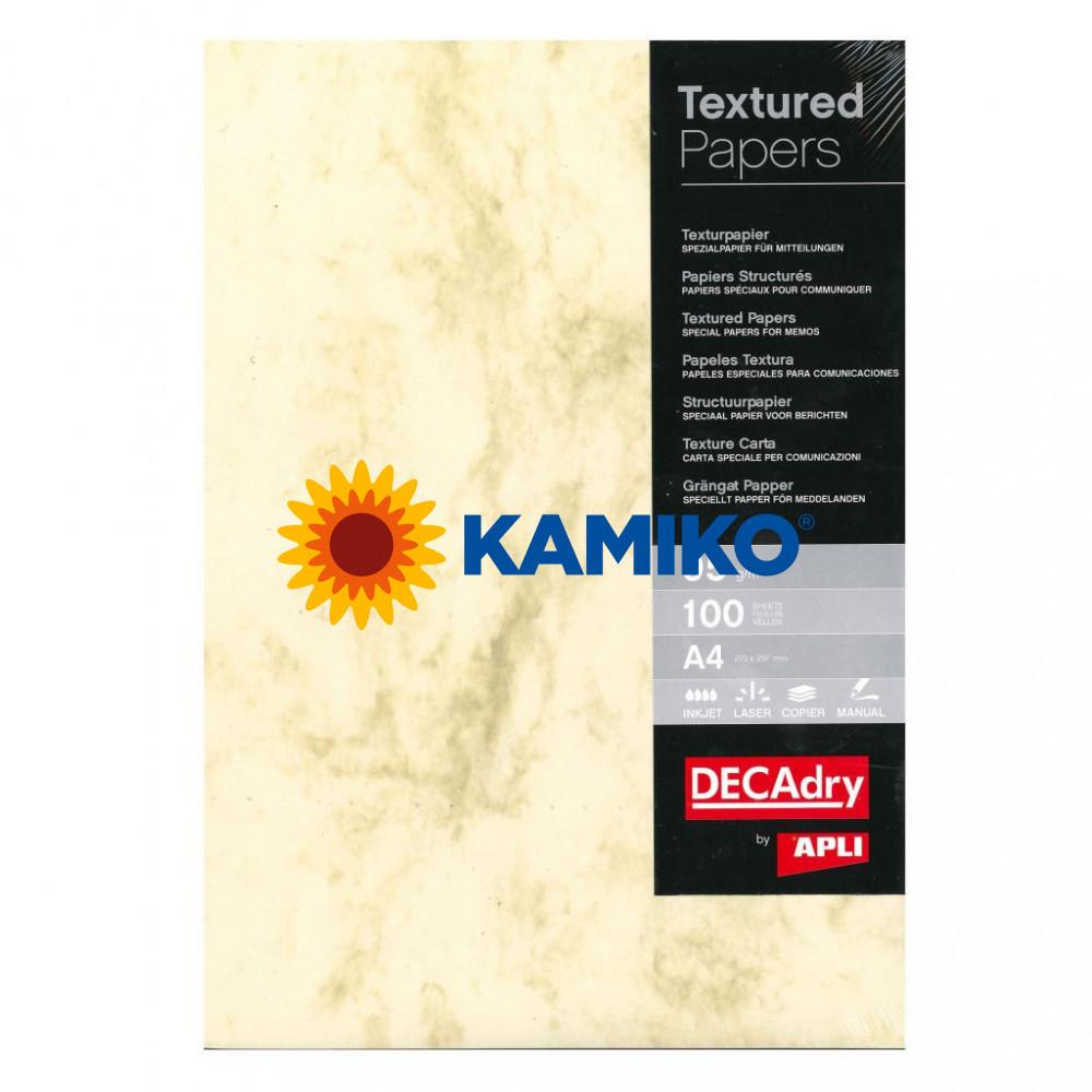 Štrukturovaný papier Mramor hnedá 95 g, 100 hárkov
