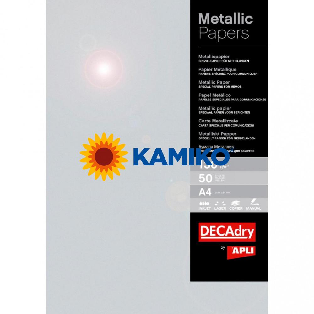 Metalický papier APLI A4 strieborná 130 g, 50 hárkov