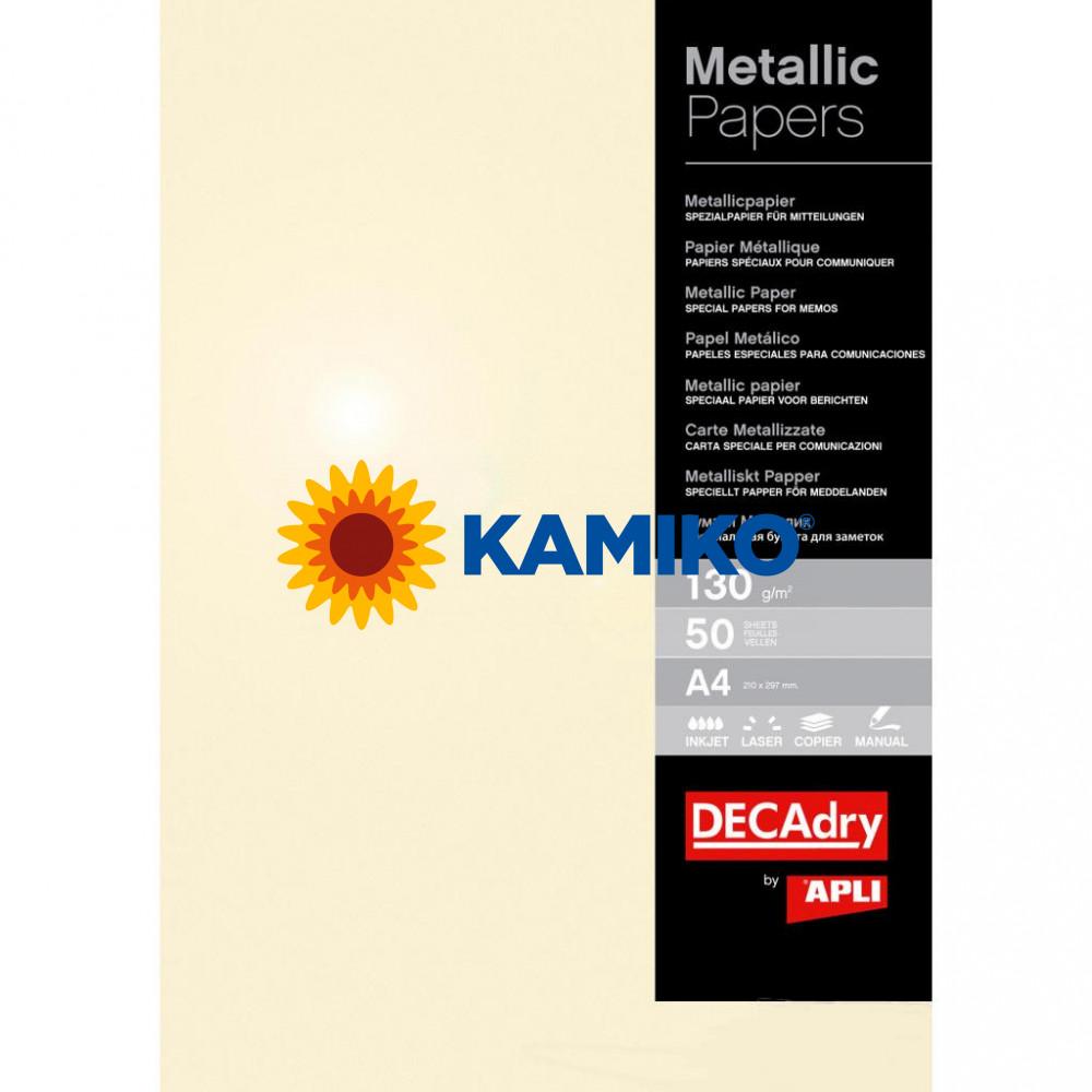 Metalický papier APLI A4 šampanské 130 g, 50 hárkov