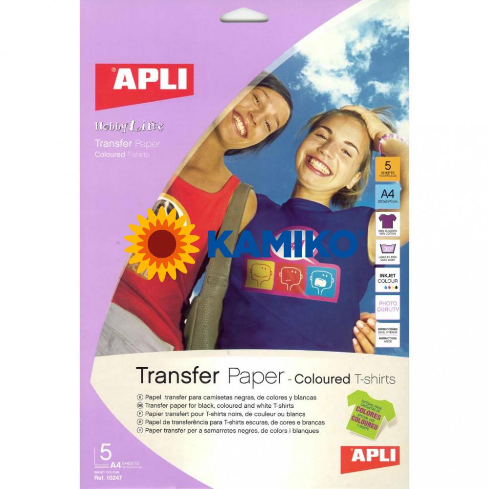 Transferový papier APLI A4 na farebné tričká, 5 hárkov