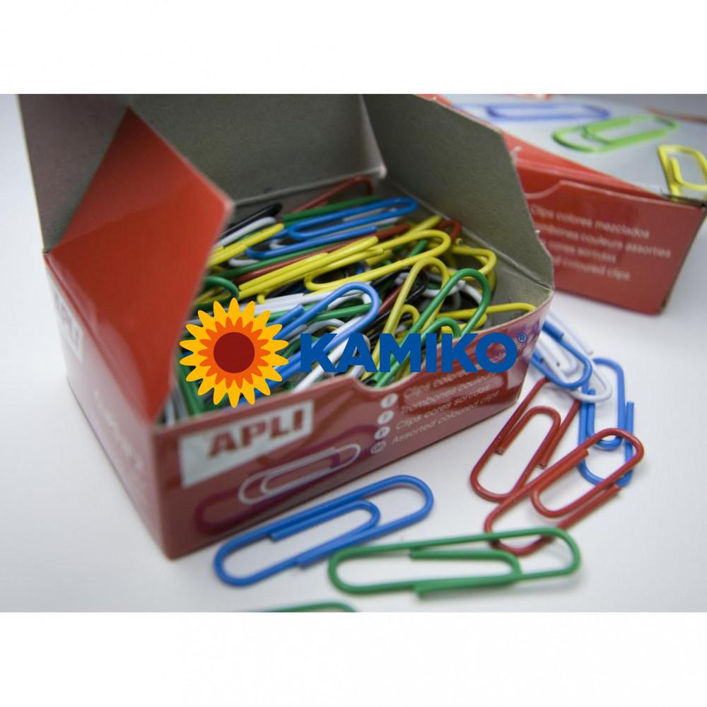 Spisové spony APLI potihanuté plastom farebné 32 mm