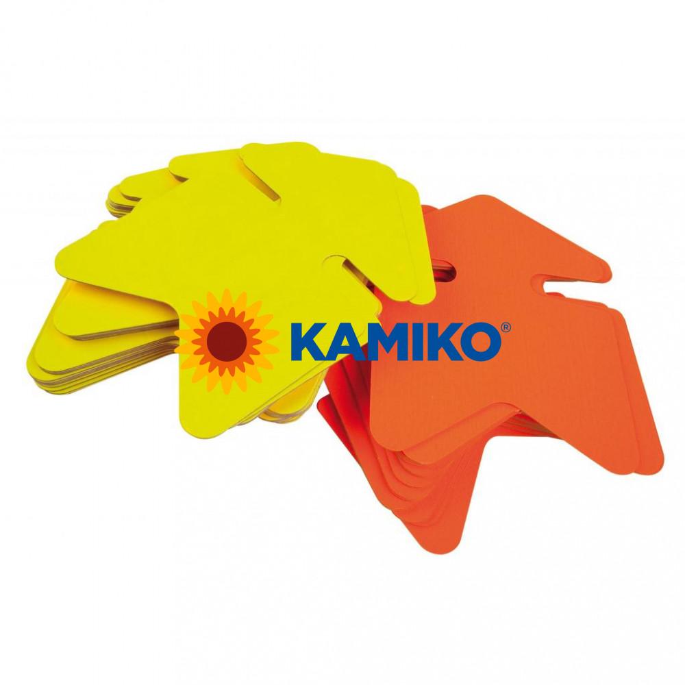 Popisovateľný farebný kartón šípka 12 x 16 cm APLI, mix žltá-oranžová