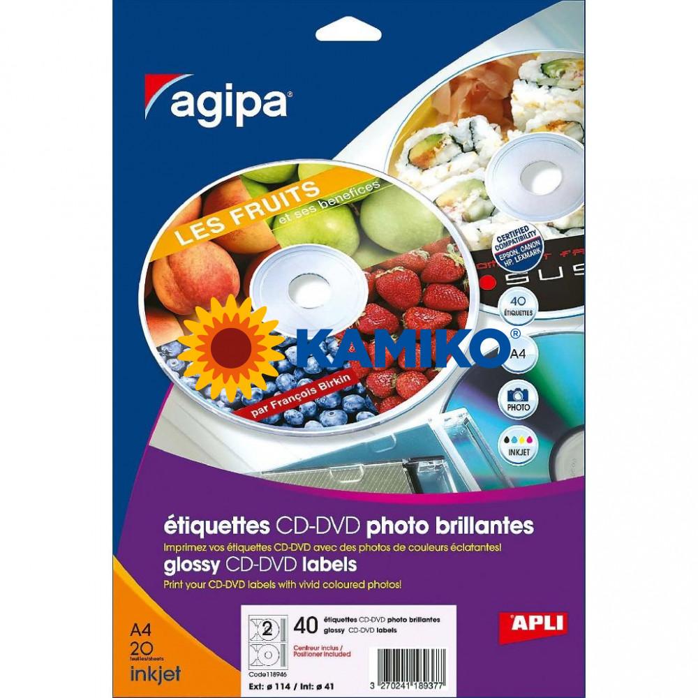 Agipa Etikety univerzálne na CD/DVD pr. 114 mm, 100 hárkov