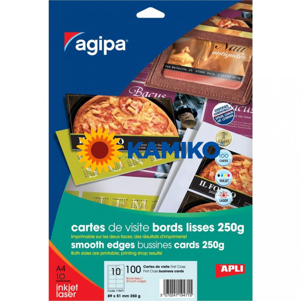 Vizitkový papier Agipa FirstClass A4 89 x 51 mm, 10 hárkov