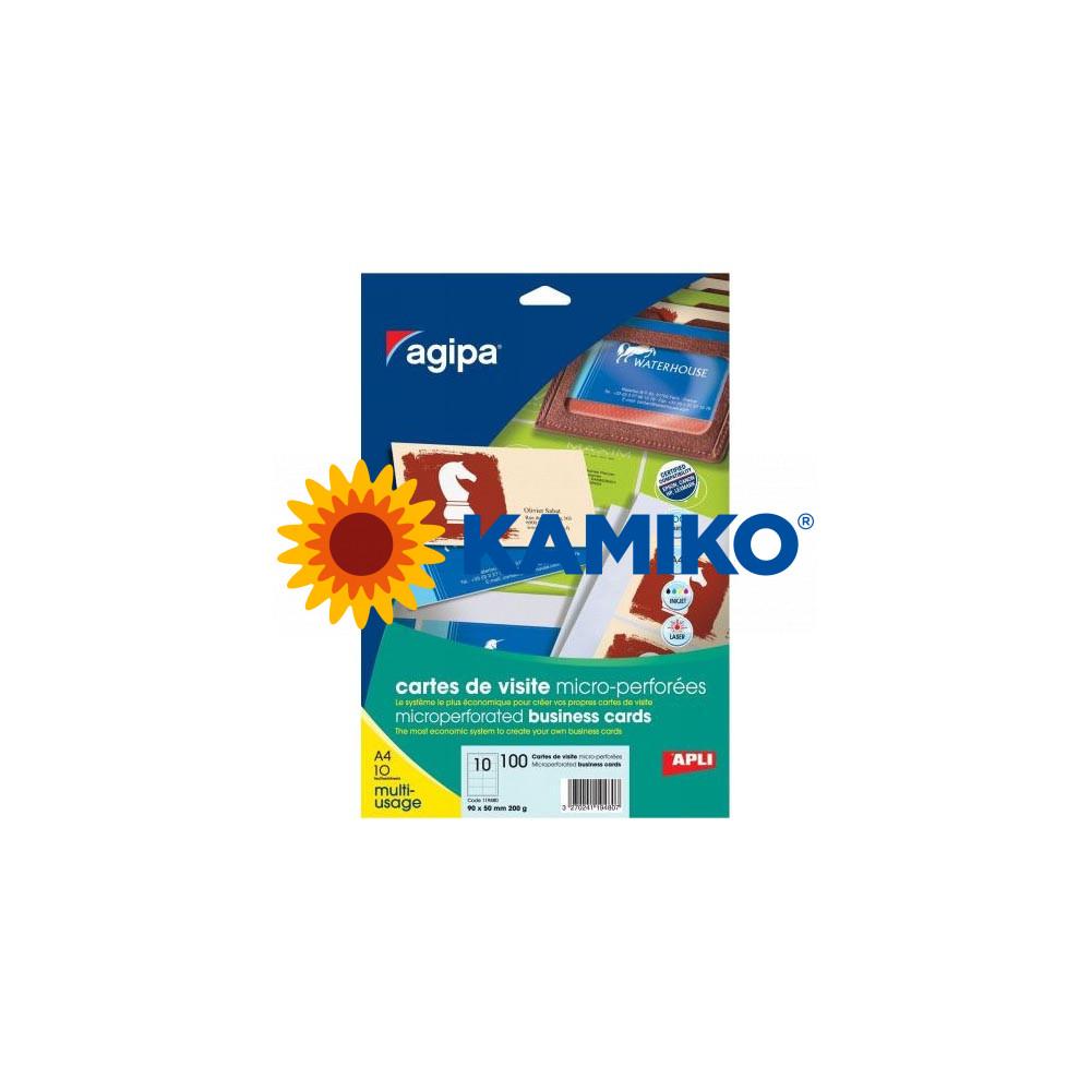 Vizitkový papier Agipa A4 90 x 50 mm s mikroperforáciou 200 g, 10 hárkov