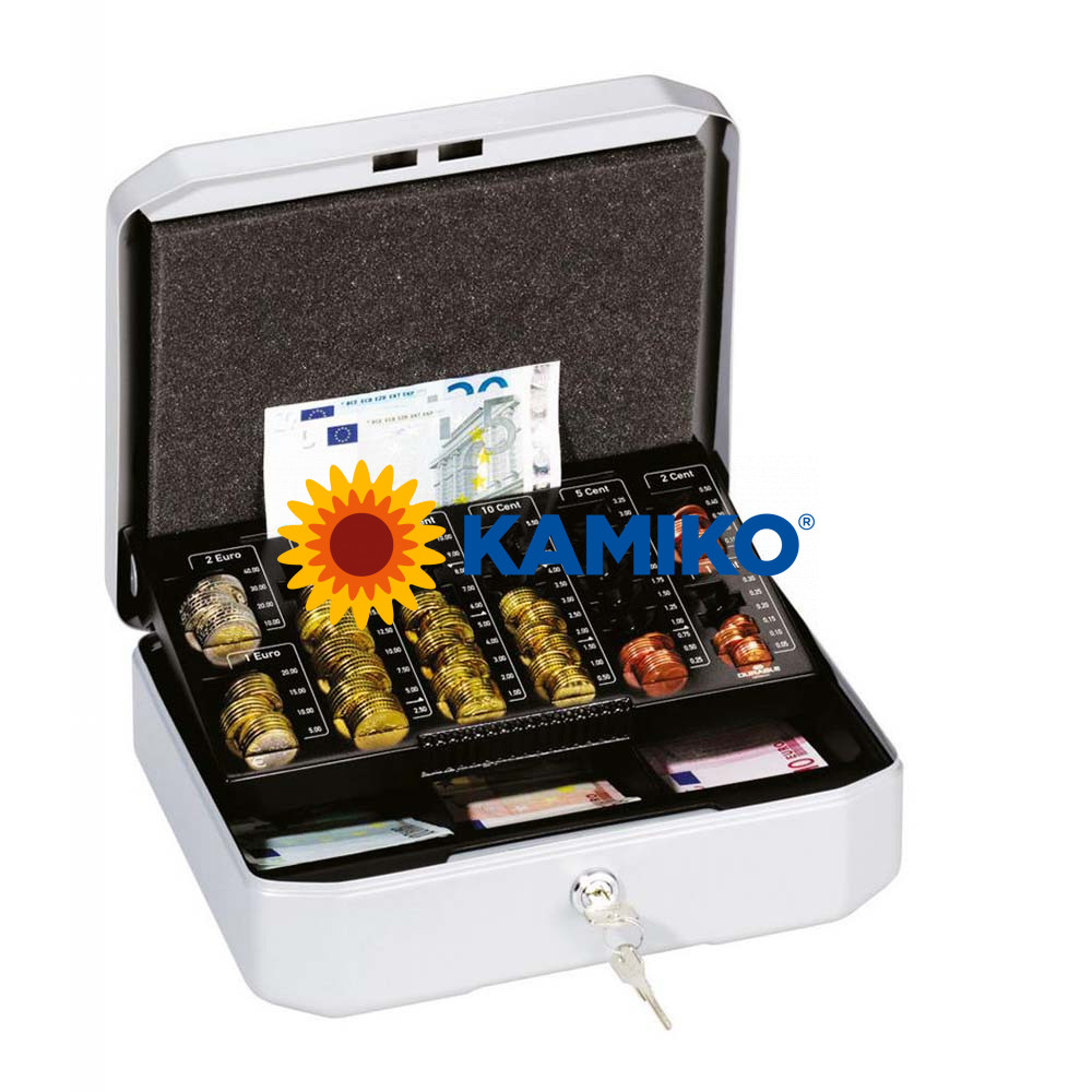 Euro-pokladnička DURABLE EUROBOXX S 283 x 100 x 225 mm, strieborná