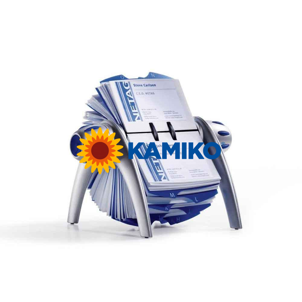 Rotačný stolový vizitkár na 400 vizitiek VISIFIX Flip VEGAS strieborný/modrý