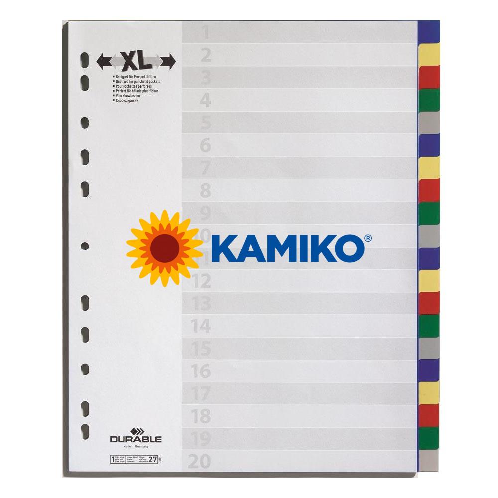 Plastový rozraďovač DURABLE 20-dielny maxi farebný