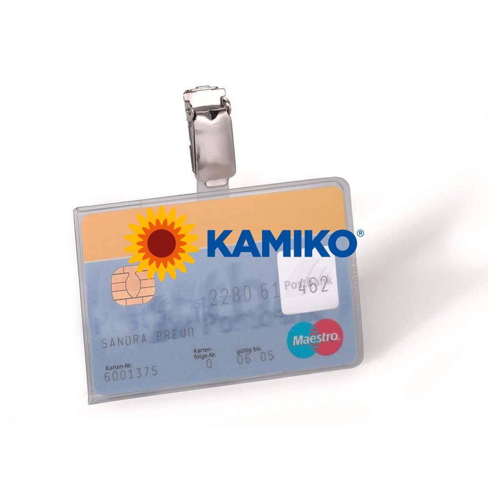 Visačka na plastovú kartu so štipcom DURBLE 87 x 54 mm, 25 ks