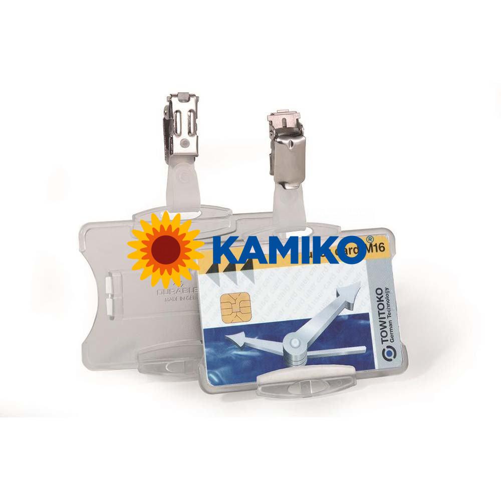 Visačka na plastovú kartu otvorená so štipcom DURABLE 85 x 54 mm, 25 ks