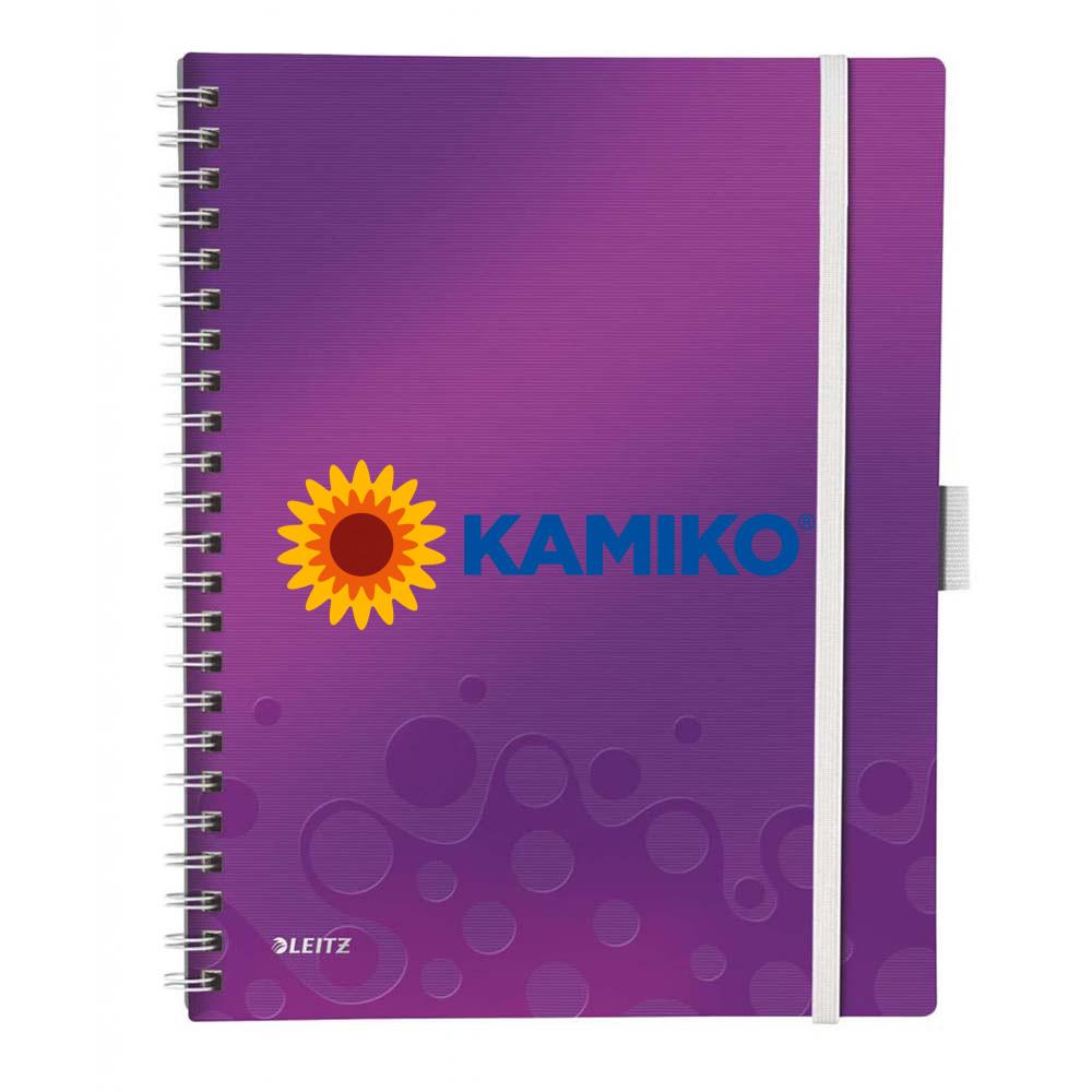Blok s uzatváraním na gumičku Leitz WOW A4 purpurový, 80 listov, linajkový