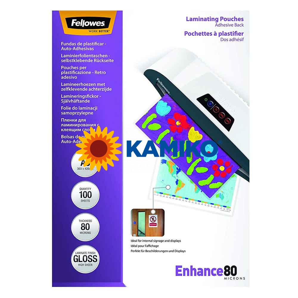 Laminovacie fólie Fellowes adhezívne 303 x 426 mm,  A3, 80 mic.