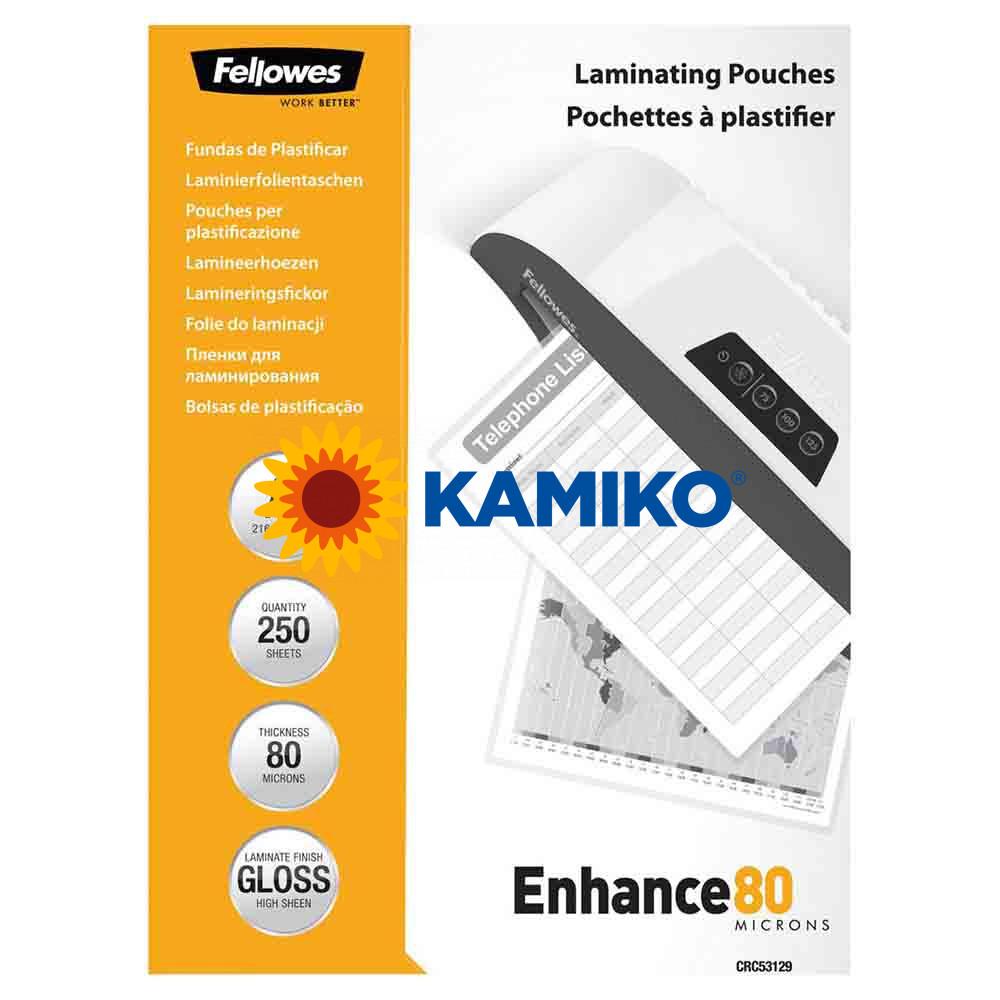 Laminovacie fólie Fellowes 216 x 303 mm, A4, 80 mic.