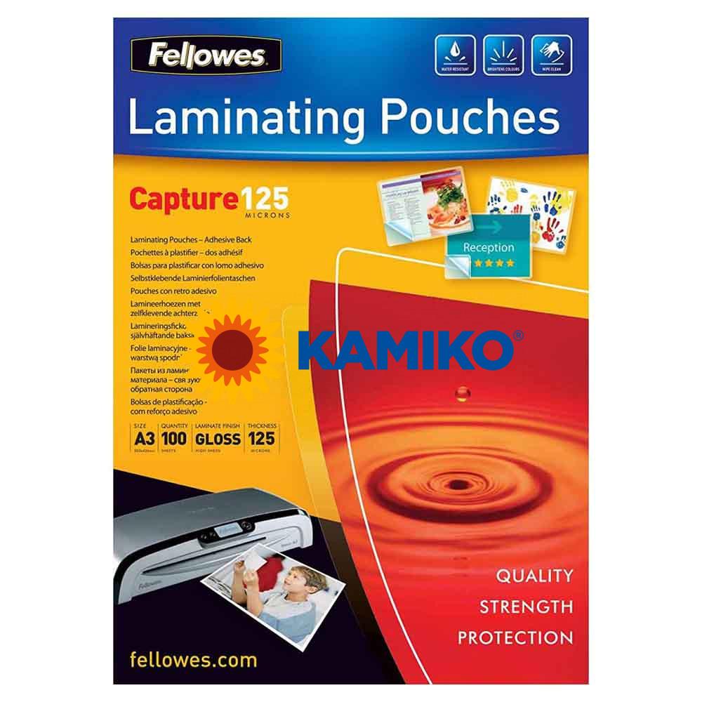 Laminovacie fólie Fellowes adhezívne 303 x 426 mm,  A3, 125 mic.