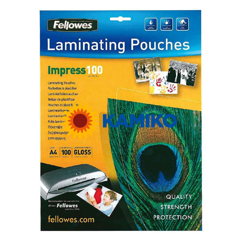 Laminovacie fólie Fellowes 216 x 303 mm, A4, 100 mic.