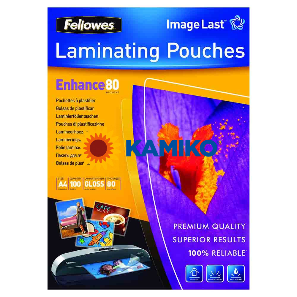 Laminovacie fólie Fellowes 216 x 303 mm, A4, 80 mic.