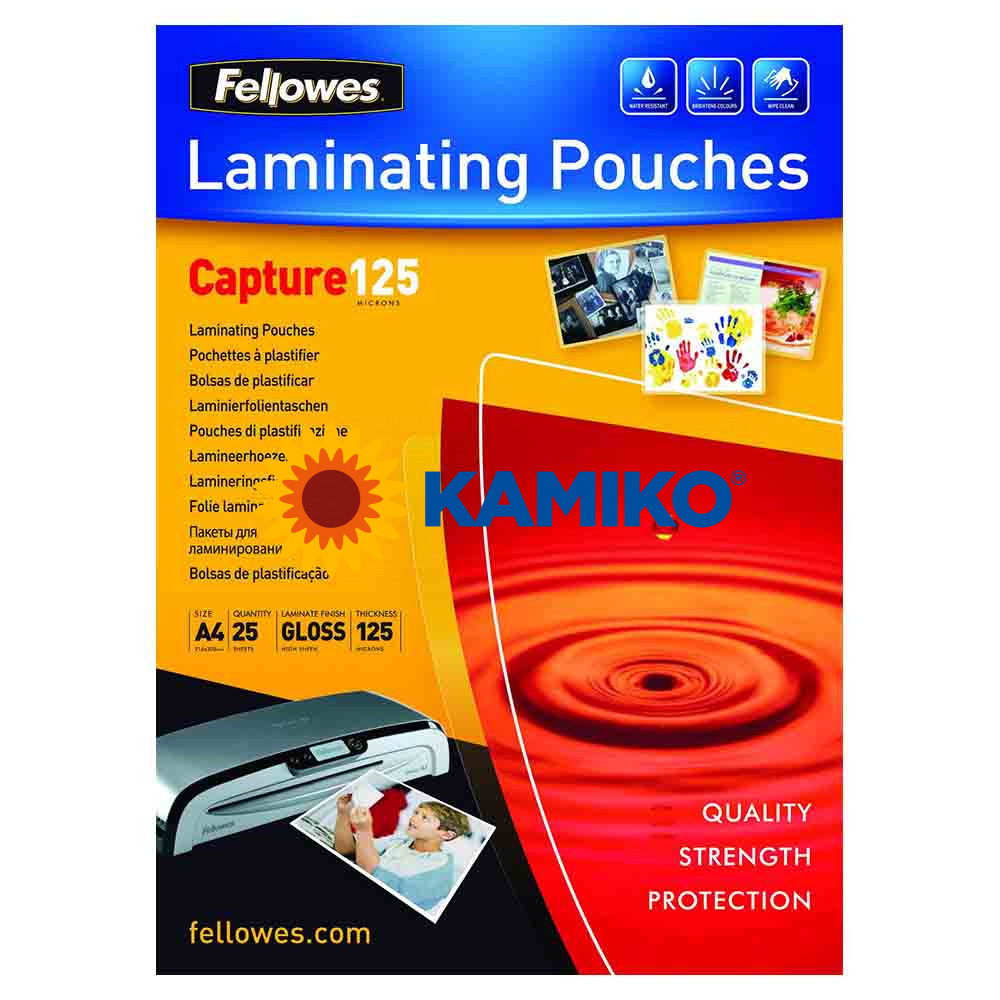 Laminovacie fólie Fellowes 216 x 303 mm, A4, 125 mic.