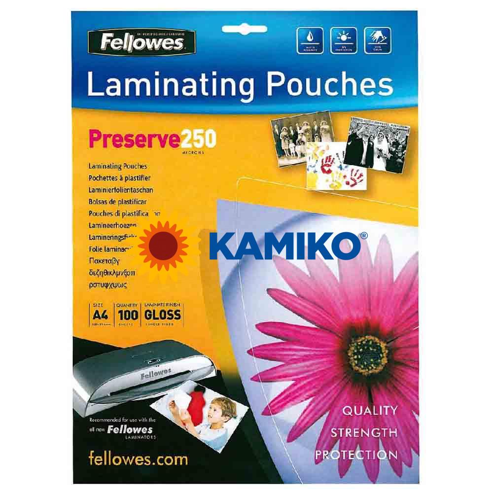 Laminovacie fólie Fellowes 216 x 303 mm, A4, 250 mic.