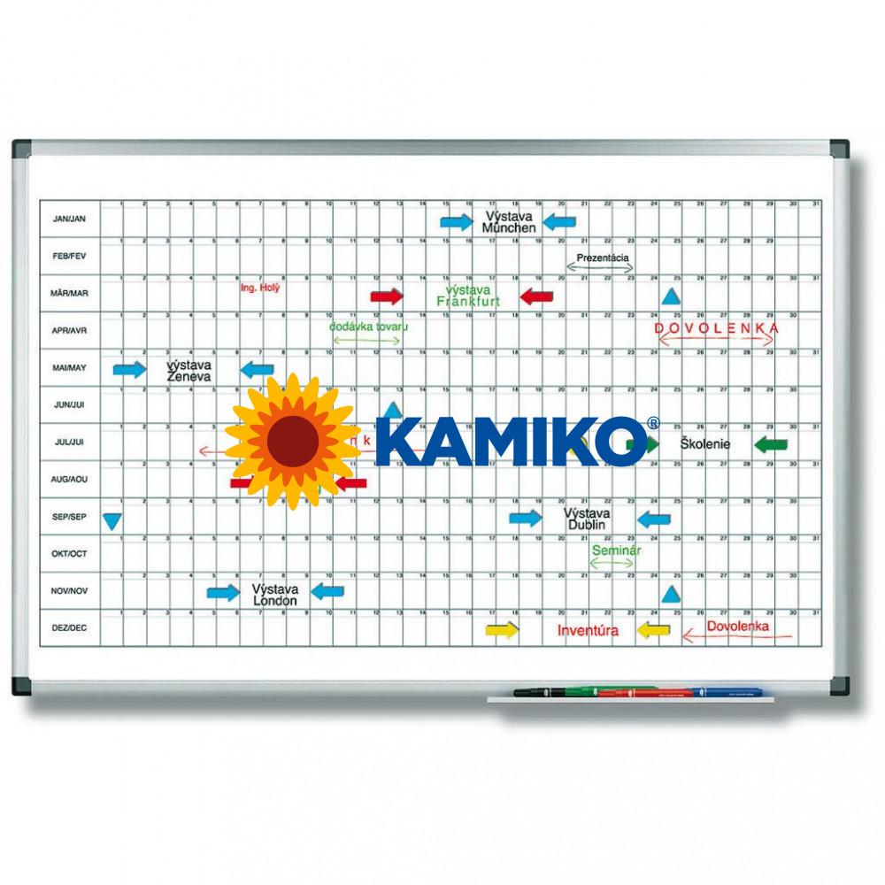 Plánovacia tabuľa ročná PREMIUM horizontálna 60 x 90 cm