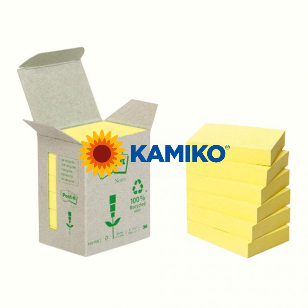 Bločky Post-it recyklované 38 x 51mm žlté, 6 x 100 ks