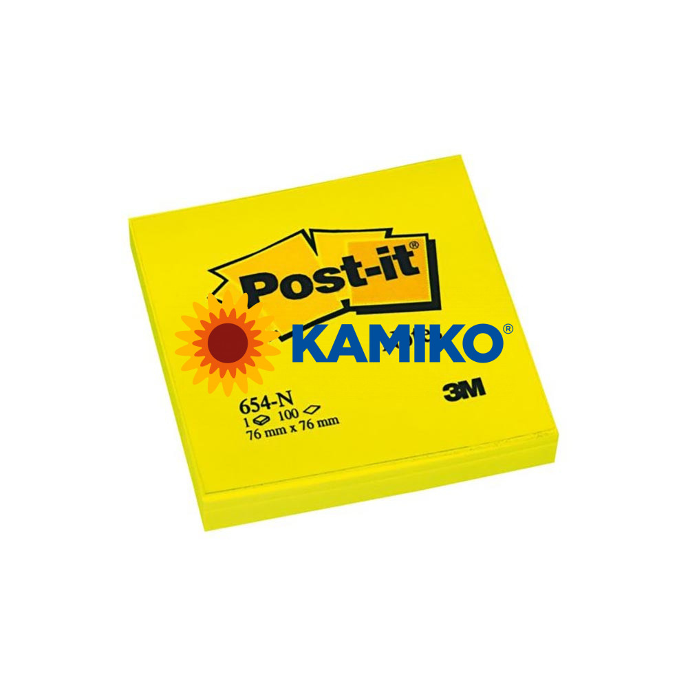 Samolepiaci bloček Post-it  neónový 76 x 76 mm žltý