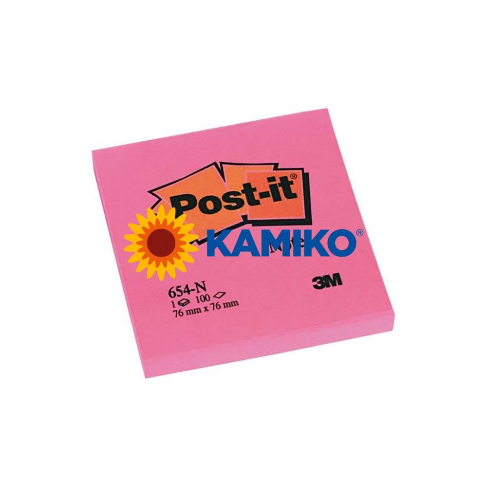 Samolepiaci bloček Post-it neónový 76 x 76 mm ružový