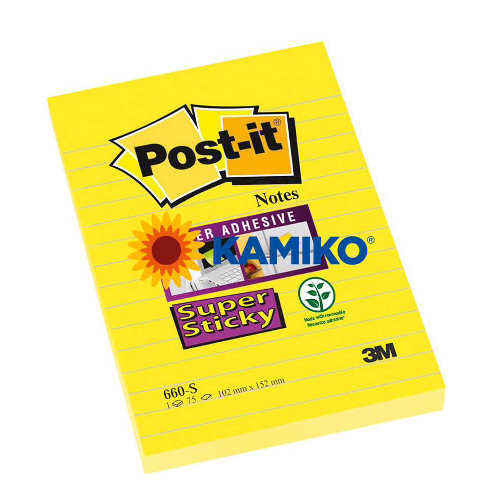 Samolepiaci bloček Post-it Super Sticky žltý 102 x 152 mm linajkovaný