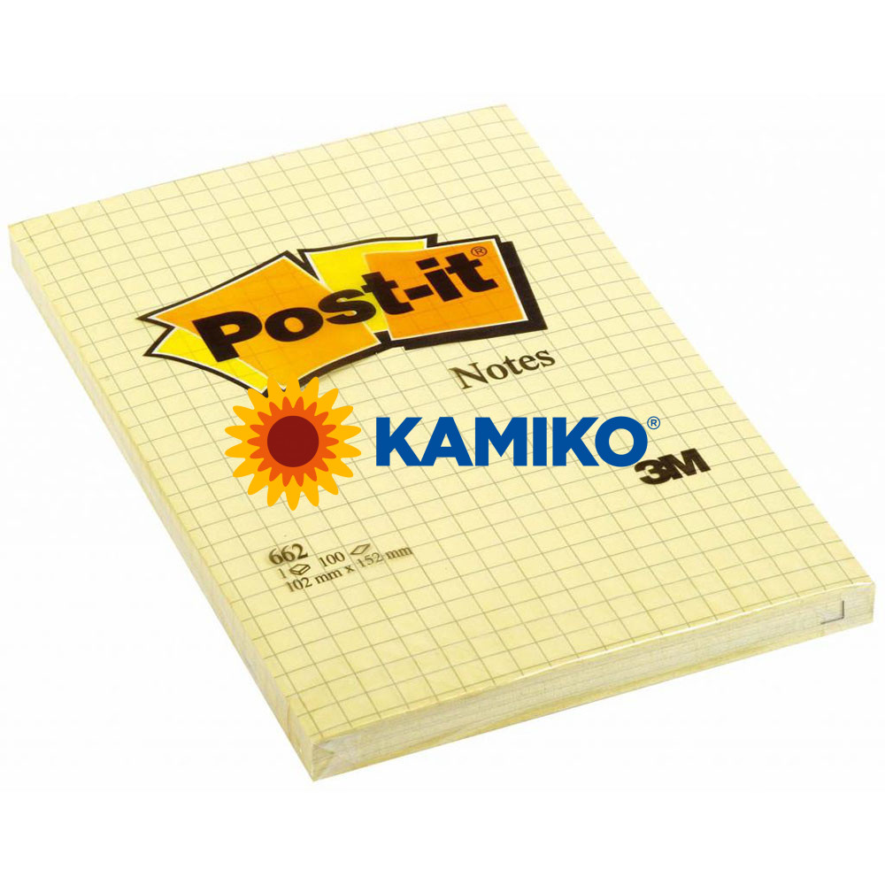 Samolepiaci bloček Post-it  žltý 102 x 152 mm štvorčekový
