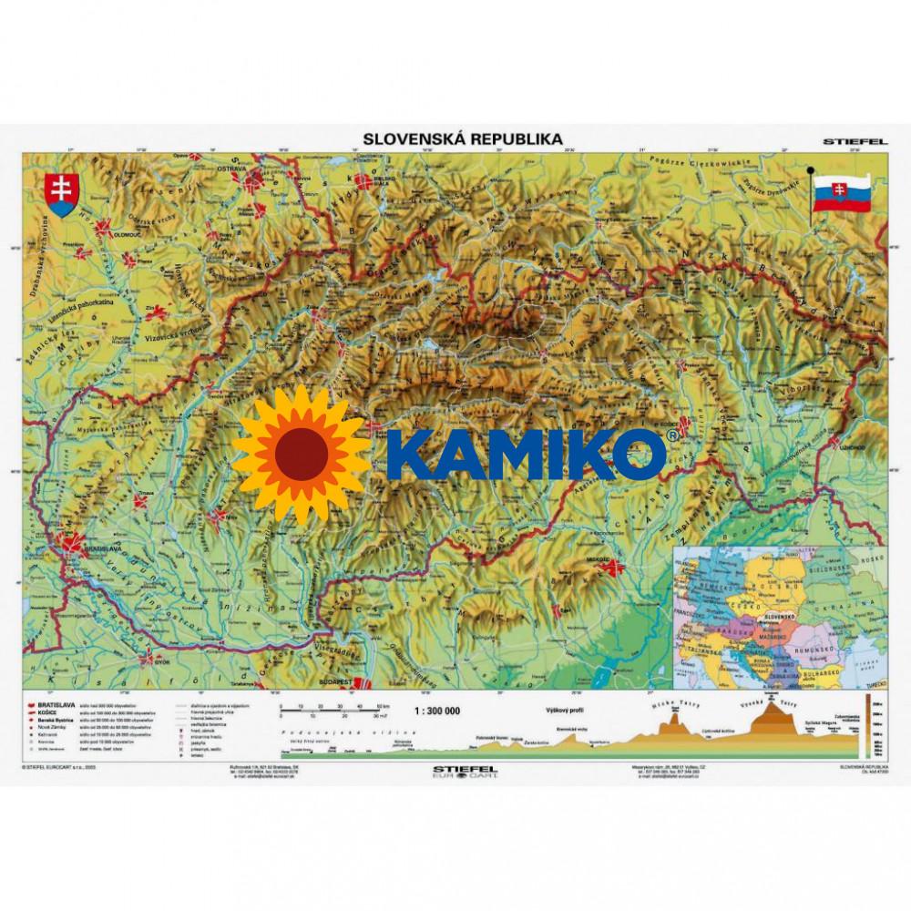 Mapa Slovensko - geografická B1 formát