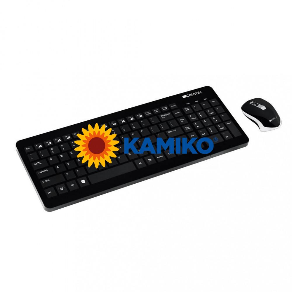Bezdrôtová klávesnica Canyon CNS-HSETW3-SK a optická myš, čierna