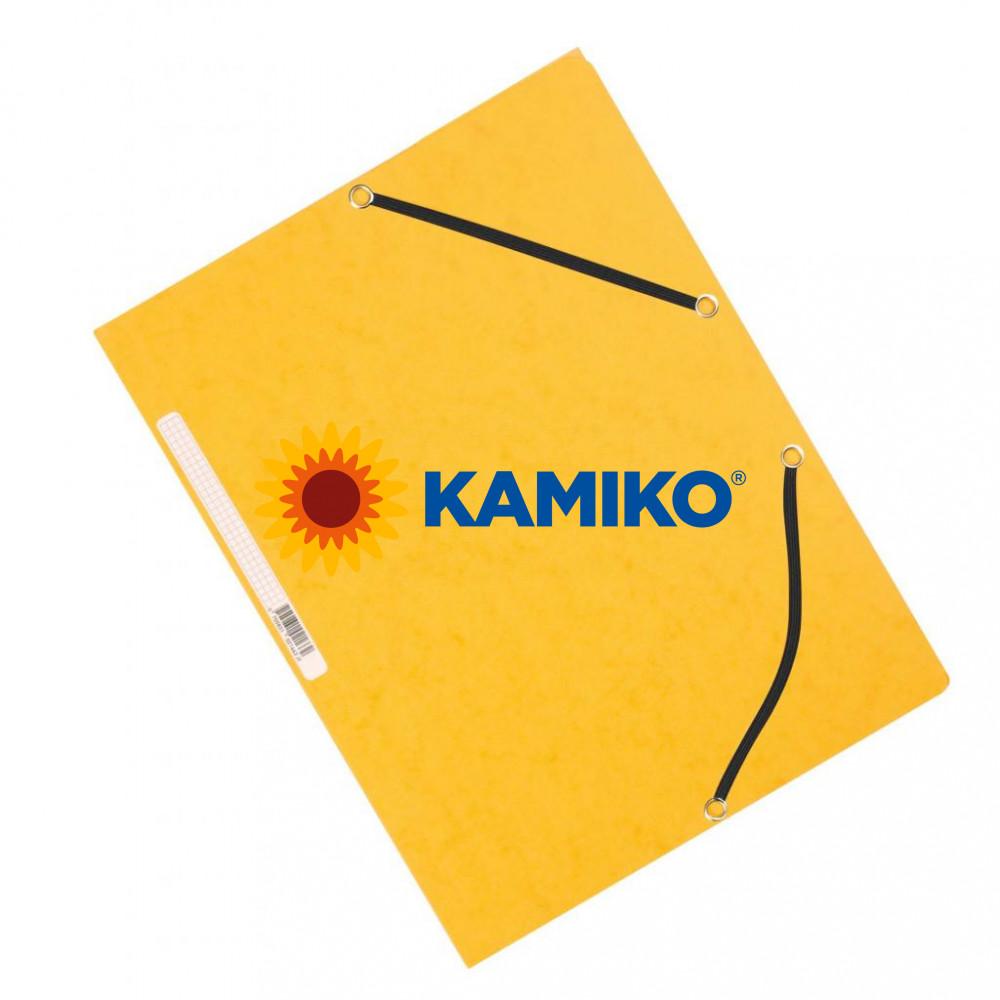 Kartónový obal hladký s gumičkou Q-Connect žltý