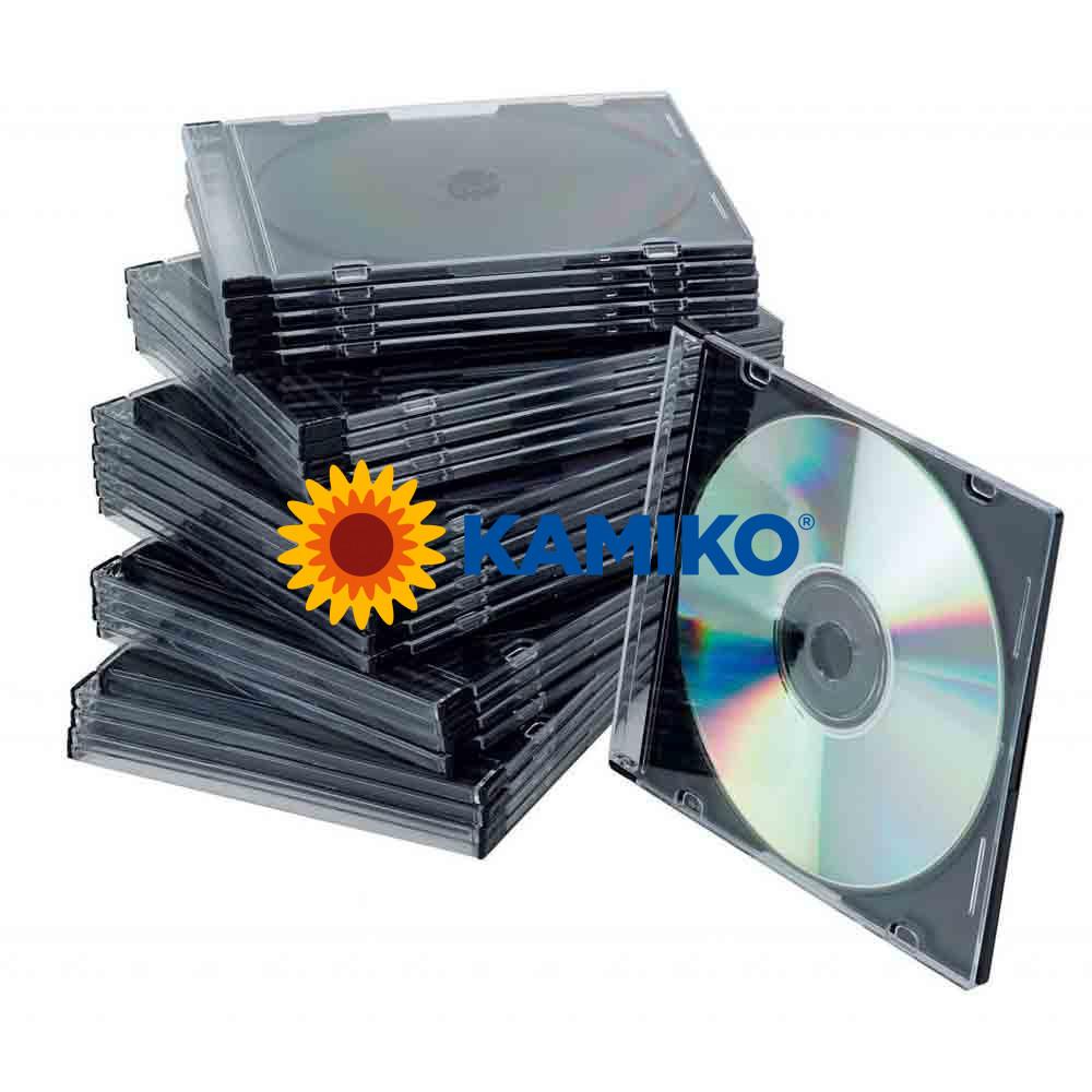 Obal Slim na CD/DVD Q-connect z plastu čierny/priehľadný, 25 ks