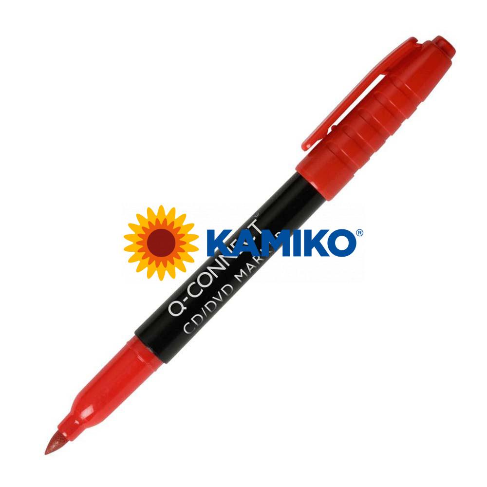 Permanentný popisovač na CD/DVD  Q-CONNECT červený