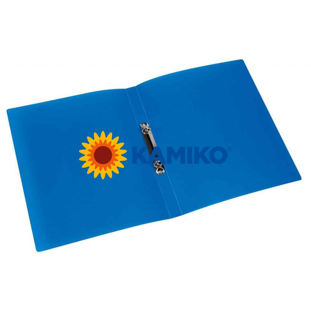 Zakladač 2-krúžkový Q-Connect celoplastový 1,6 cm transparentný modrý