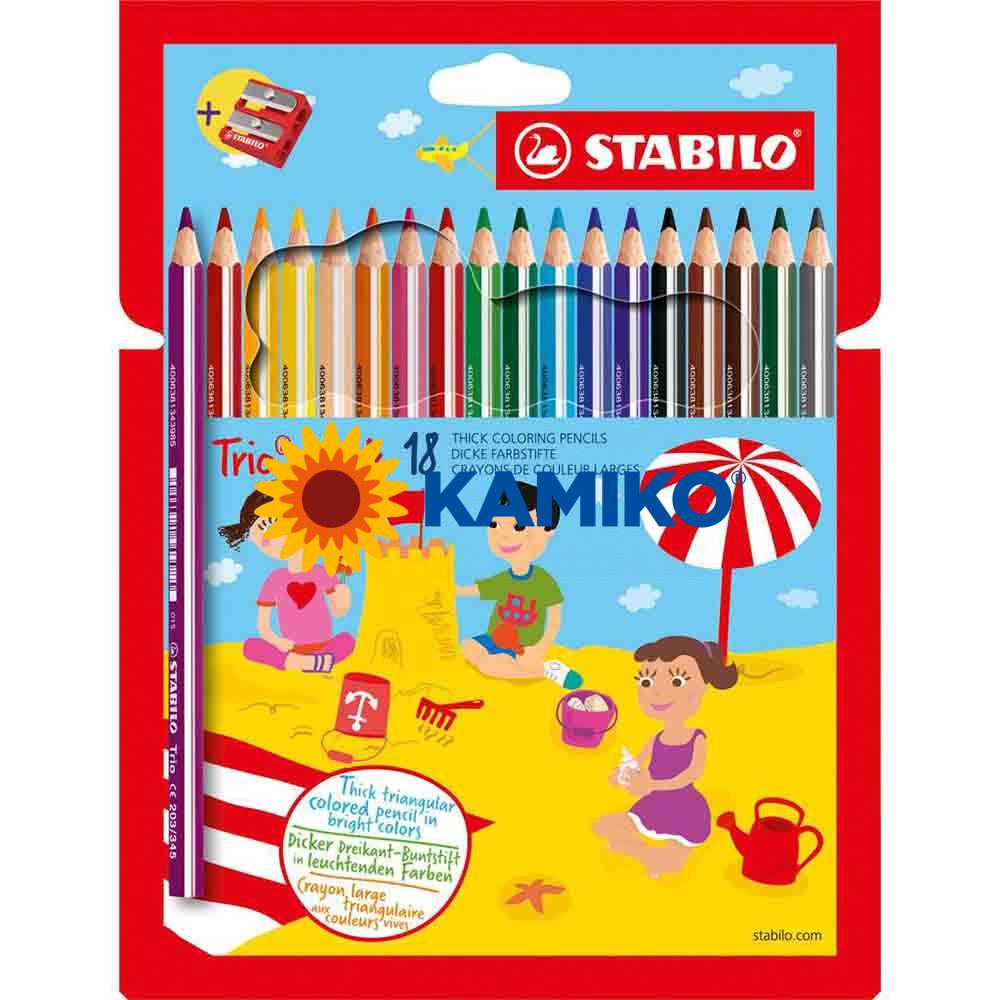 Farbičky STABILO Trio so strúhadlom, 18 ks